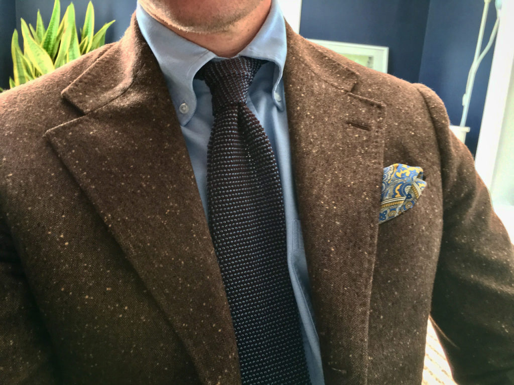 Proper Cloth Oxford shirt with the Soft Ivy Button Down collar, Eidos brown donegal sportcoat and Kent Wang knit tie.