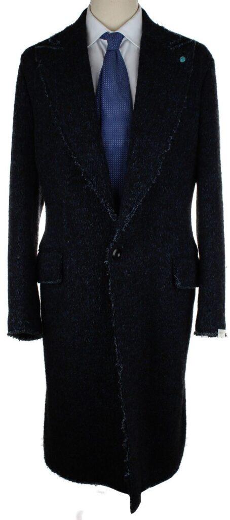 Rough-Edge Navy Peak Lapel coat, $299, size 50EU/40US