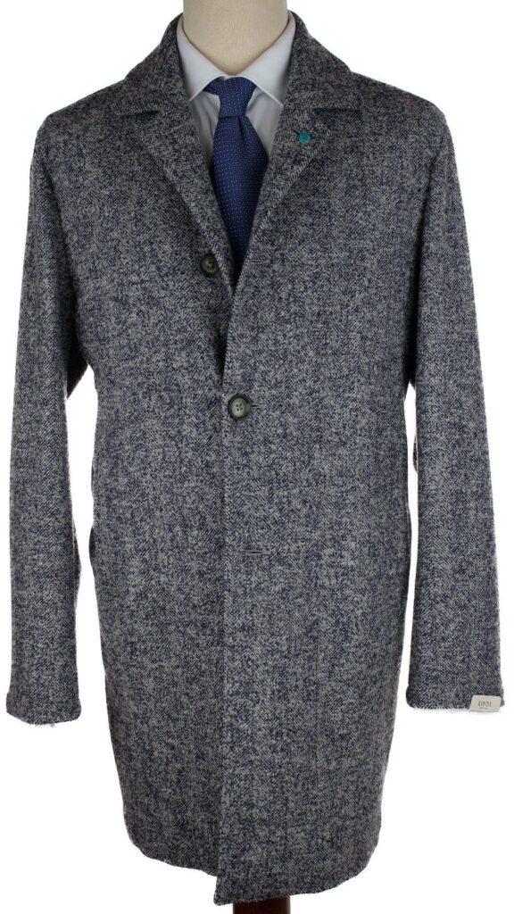 Light Gray-Blue Herringbone Shay Coat Eidos 52/42