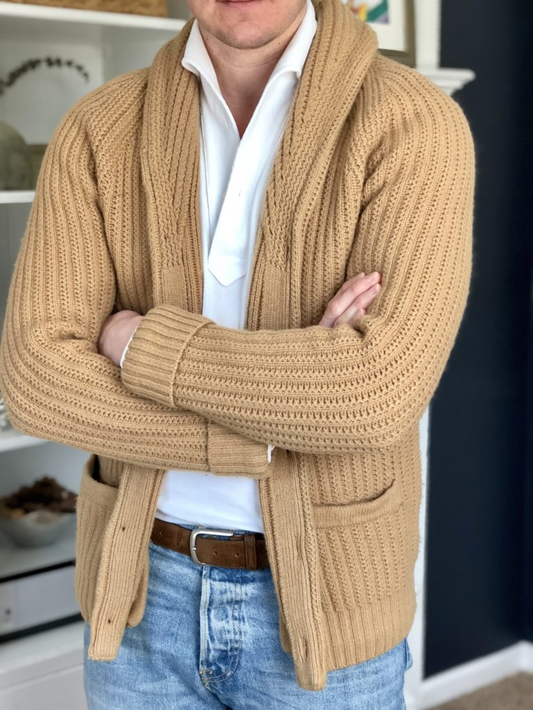 white eidos lupo polo with camel shawl cardigan abercrombie and fitch menswear musings